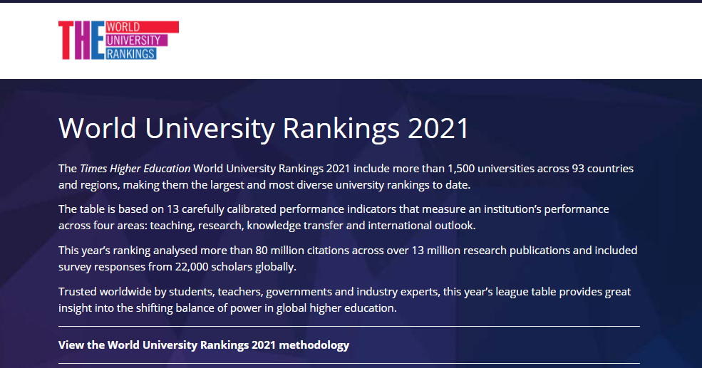 The Times Higher Education World University Rankings 2021